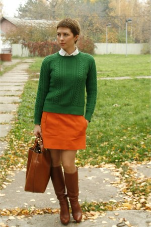 brown Zara boots - teal Zara sweater - brown Zara bag - carrot orange Zara skirt