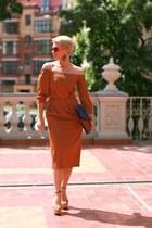 brown asoscom bag - bronze asoscom dress - brown Zara heels