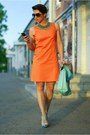 Carrot-orange-incity-dress-aquamarine-zara-necklace