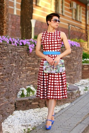 brick red asos dress - blue Christian Louboutin heels