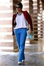 Blue-h-m-pants-ruby-red-zara-jacket-white-promod-sweater