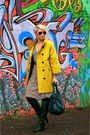 Dark-green-calipso-boots-olive-green-reserved-coat-dark-green-domani-bag