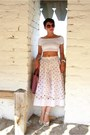 White-asos-top-bubble-gum-furla-bag-white-asos-skirt