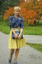 blue floral print Zara blouse - blue Zara scarf - navy Aldo bag