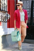 hot pink H&M jacket - peach Zara pants - light blue H&M t-shirt