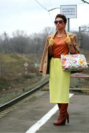 light yellow asos skirt - brown Zara boots