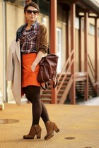 carrot orange Zara skirt - brown Zara boots - dark brown MMM at H&M bag