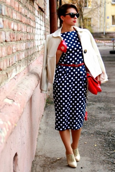 Navy Polka Dot Dress Dress | Chictopia
