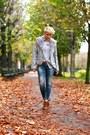 Brown-zara-boots-blue-zara-jeans-silver-h-m-shirt