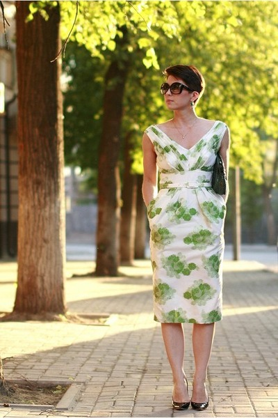 green asos dress - black Jimmy Choo pumps