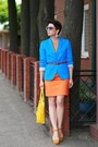Carrot-orange-incity-dress-blue-reserved-jacket-yellow-domani-bag
