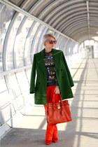 forest green Zara coat - burnt orange Michael Kors bag