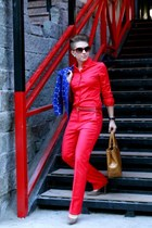 red Mango pants - blue Marni at H&M jacket - brown longchamp bag