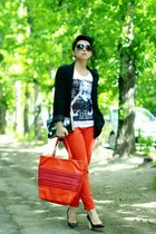 black H&M jacket - carrot orange DKNY bag - carrot orange H&M pants