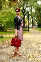 black Zara jacket - maroon lindex dress - light pink Aldo heels