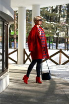 red Zara boots - red Diane Von Furstenberg dress - red asoscom coat