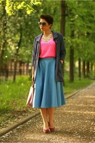 blue asos skirt - hot pink New Yorker t-shirt