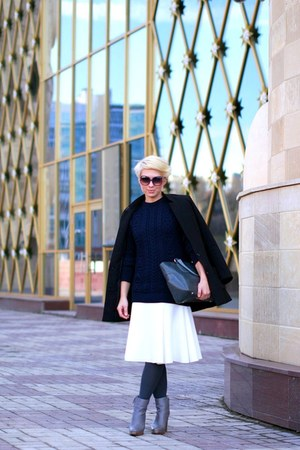 charcoal gray Zara boots - navy Zara sweater - white Zara skirt
