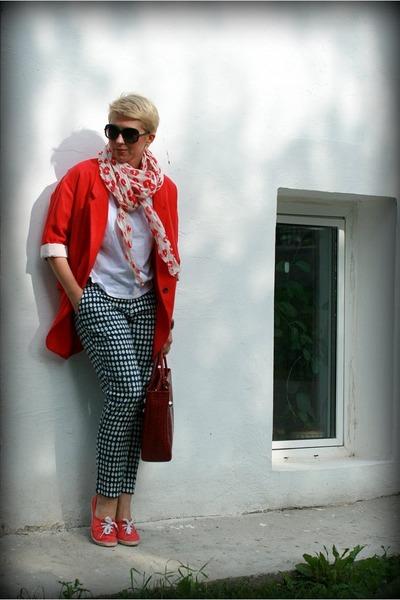 red Zara blazer - brick red Furla bag - navy H&M panties