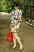 orange Zara dress - carrot orange Michael Kors bag - olive green Zara pumps