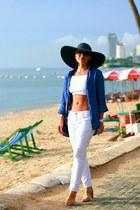 white Zara jeans - white asos top