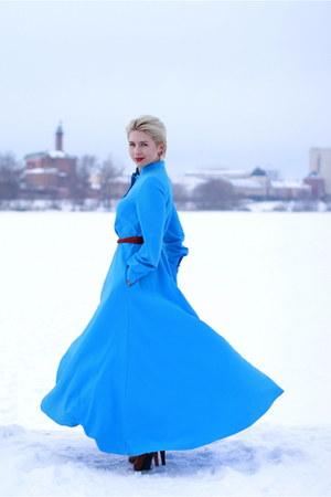 blue ZARRINA BABADZHANOVA dress - dark brown asos bag