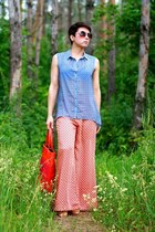 sky blue H&M shirt - carrot orange DKNY bag - orange Zara pants