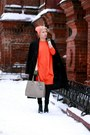 Carrot-orange-cos-dress-black-incity-coat