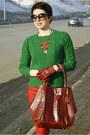 Ruby-red-zara-jeans-teal-zara-sweater-brick-red-furla-bag