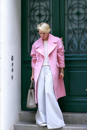 bubble gum asoscom coat - light pink Mango sweater - heather gray Prada bag