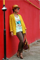 mustard H&M jacket - brick red asos bag - light blue Gap t-shirt