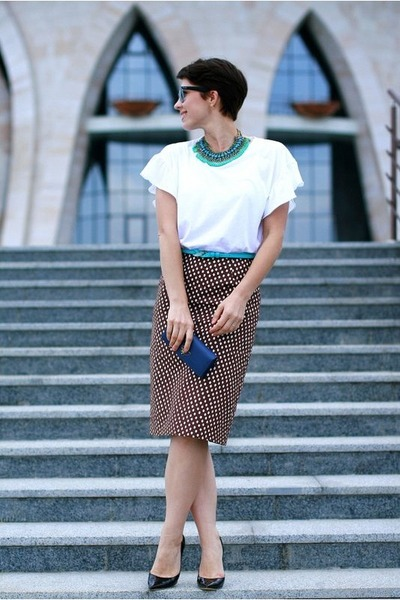 dark brown Prada skirt - white Zara t-shirt - black Jimmy Choo pumps