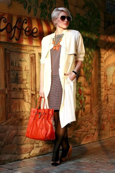 burnt orange COS dress - ivory H&M coat - carrot orange Michael Kors bag