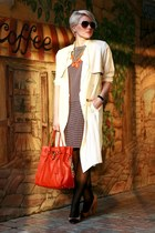 burnt orange COS dress - ivory H&M coat - carrot orange Michael Kors bag