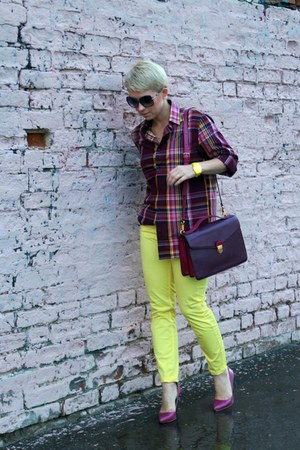 maroon Marc by Marc Jacobs bag - yellow H&M pants