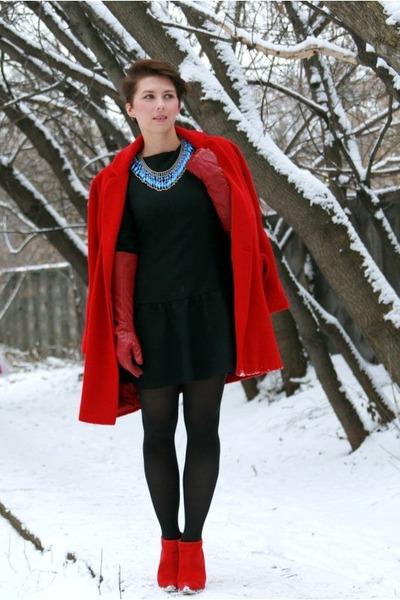 asos coat - Zara boots - Zara dress