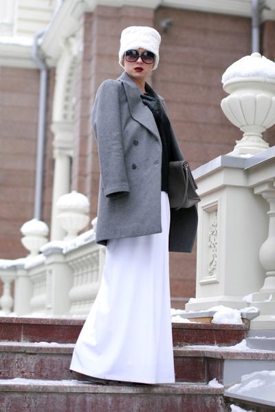 heather gray Zara coat - white Stradivarius hat - black H&M sweater