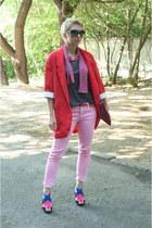 red oversized Zara jacket - hot pink Zara shoes - bubble gum Zara jeans