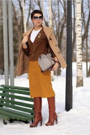 mustard Monton skirt - brown H&amp;M cardigan