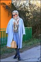 silver COS coat - beige Prada bag