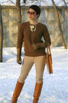 bronze asoscom bag - bronze Zara boots - brown Zara sweater