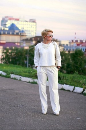white Zara sweater - white asos pants