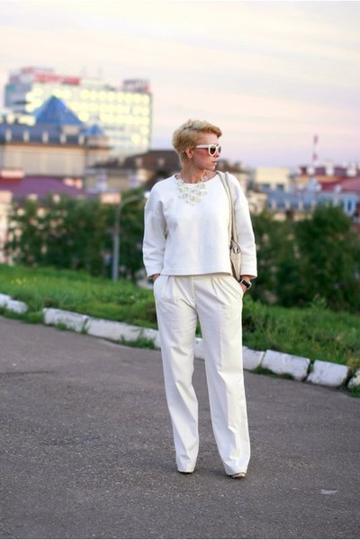white Zara sweater - white asos pants