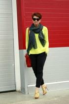 camel Aldo heels - navy lindex jeans - chartreuse Zara sweater - navy Zara scarf
