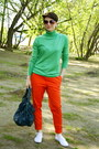 Chartreuse-befree-sweater-carrot-orange-h-m-pants