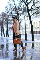 brown Zara boots - brown Michael Michael Kors bag - navy Zara pants