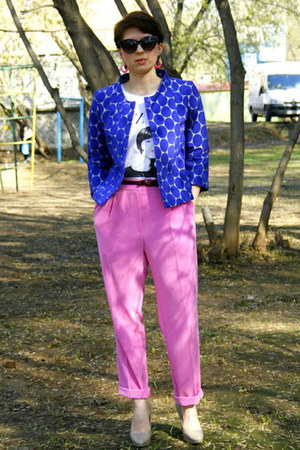 blue Marni at H&M jacket - hot pink H&M pants