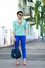 Blue-promod-pants-aquamarine-h-m-top-carrot-orange-zara-pumps