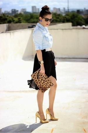 light blue Stradivarius shirt - brown suiteblanco bag - black Ray Ban sunglasses