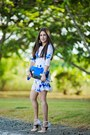 Light-pink-zara-dress-blue-sole-society-bag-beige-shoedazzle-sandals